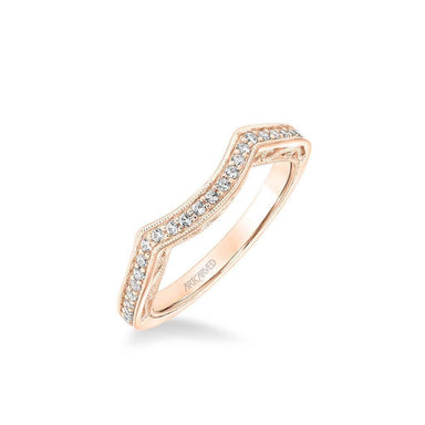 Lucinda Vintage Heritage Collection Diamond and Milgrain Filigree Scrollwork Wedding Band