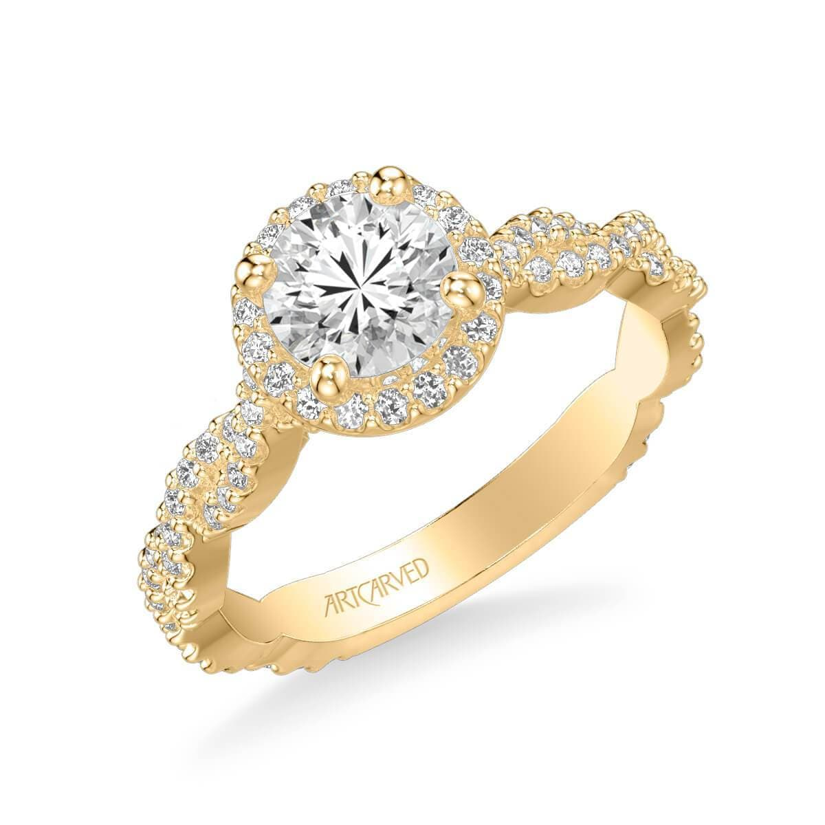 Gianna Contemporary Round Halo Twist Diamond Engagement Ring