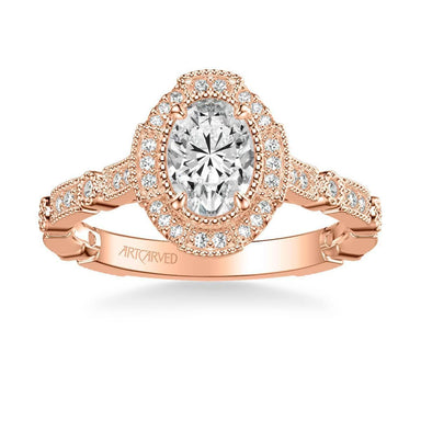 Bessie Vintage Oval Halo Diamond Engagement Ring