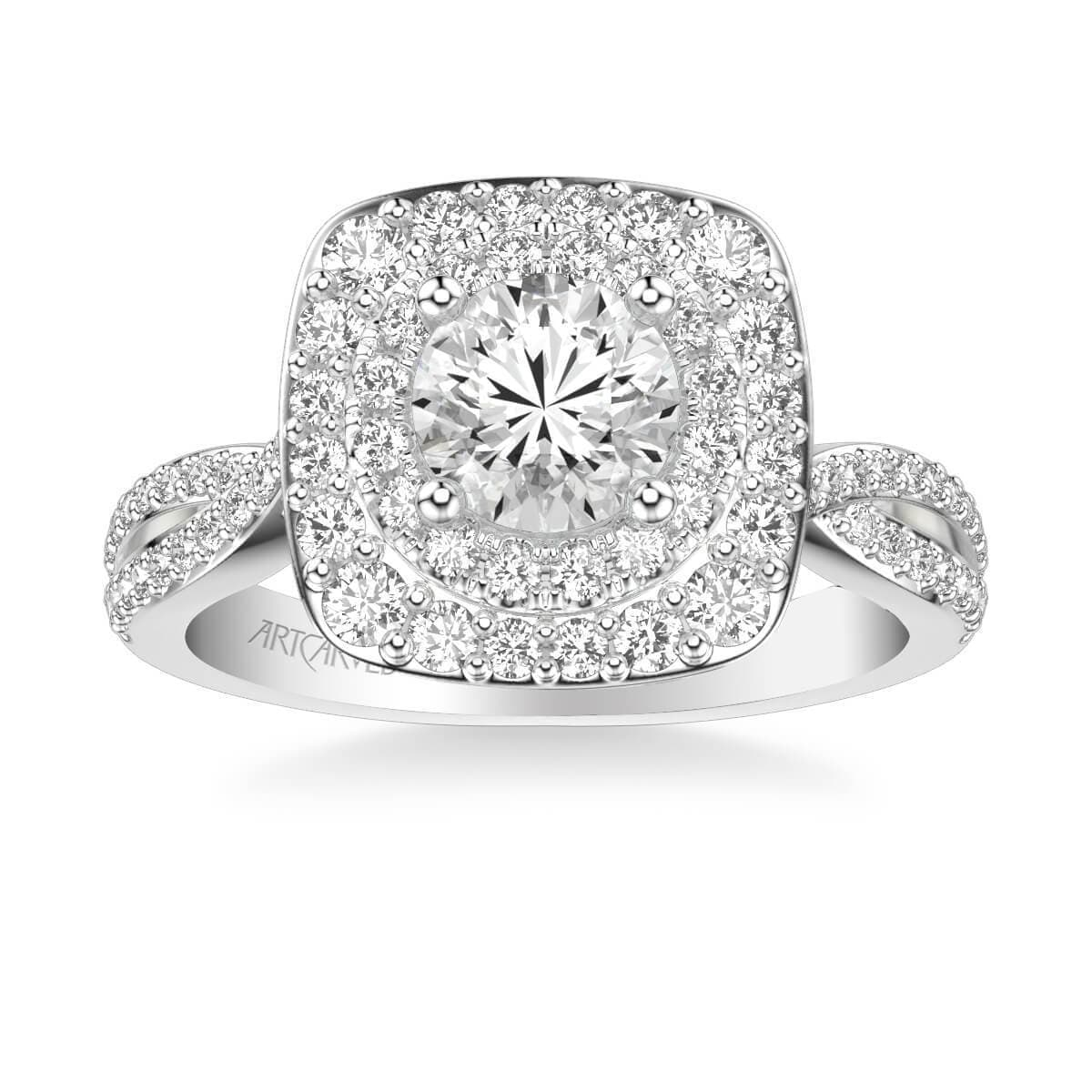 Kendra Contemporary Double Cushion and Round Halo Twist Diamond Engagement Ring