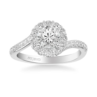 Sierra Contemporary Bypass Halo Twist Diamond Engagement Ring