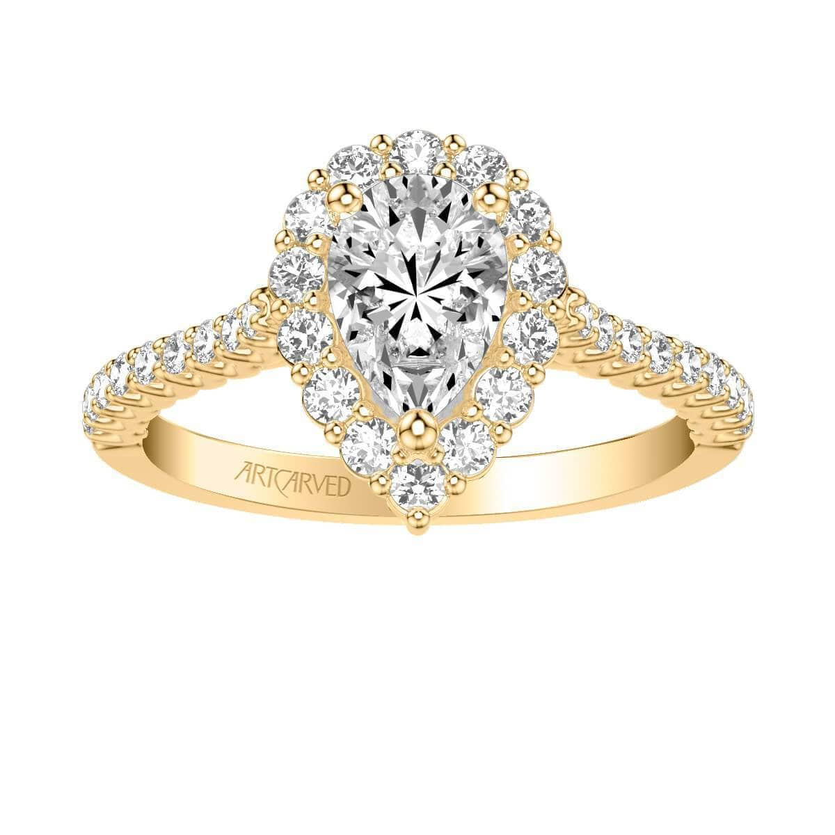 Melissa Classic Pear Halo Diamond Engagement Ring