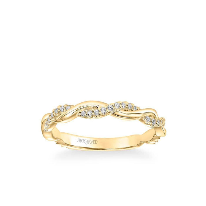 Rina Contemporary Half Diamond Half Polished Twist Band