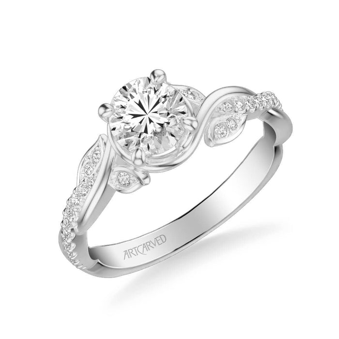 Petaluma Contemporary Side Stone Floral Diamond Engagement Ring