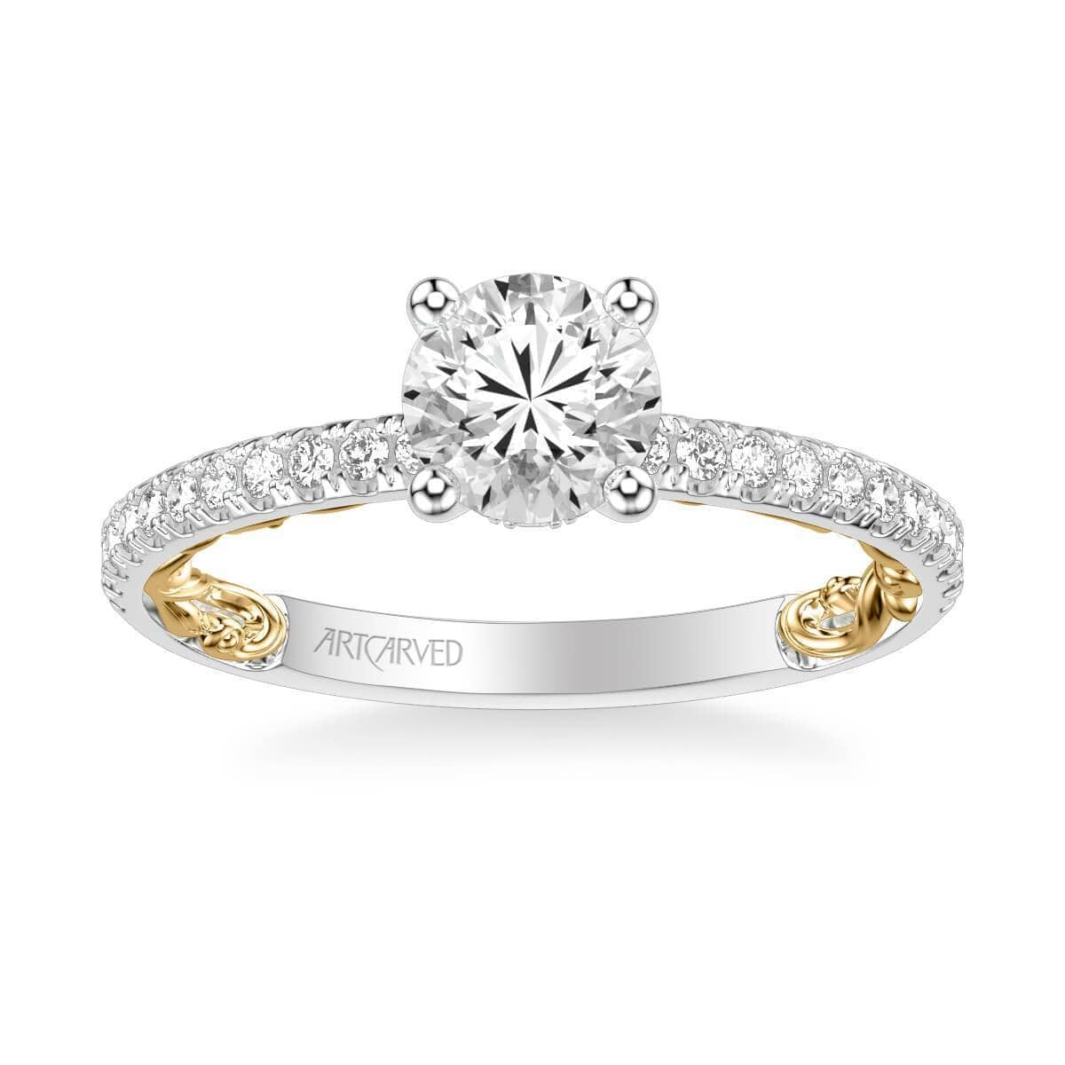Cora Lyric Collection Classic Side Stone Diamond Engagement Ring