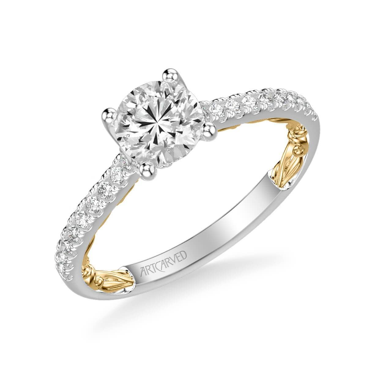 Marta Lyric Collection Classic Side Stone Diamond Engagement Ring