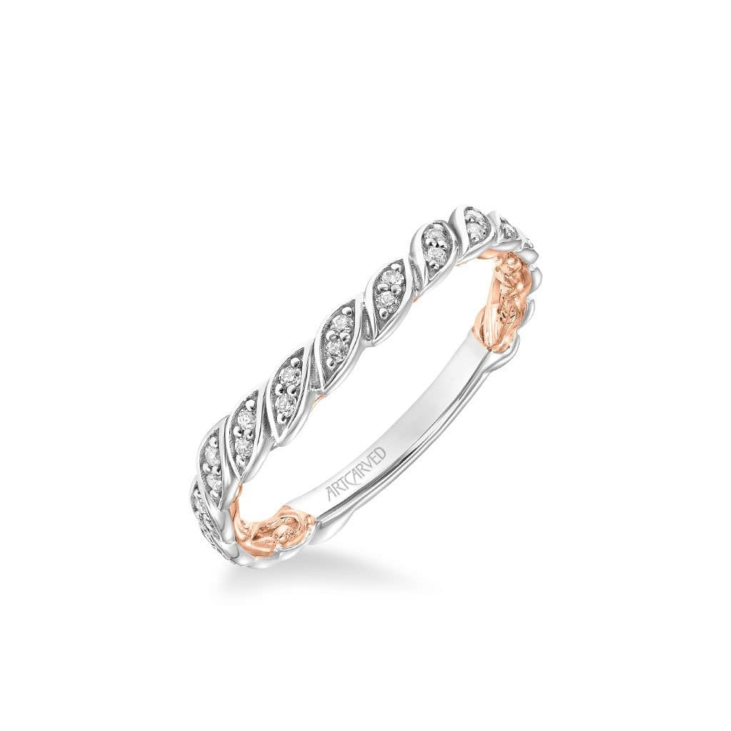 Credence Lyric Collection Contemporary Diamond and Milgrain Floral Wedding Band