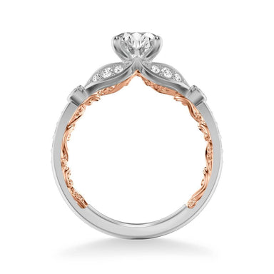 Anouk Lyric Collection Contemporary Side Stone Floral  Diamond Engagement Ring