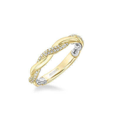 Starla Lyric Collection Contemporary Half Diamond Half Polished Twist Wedding Band