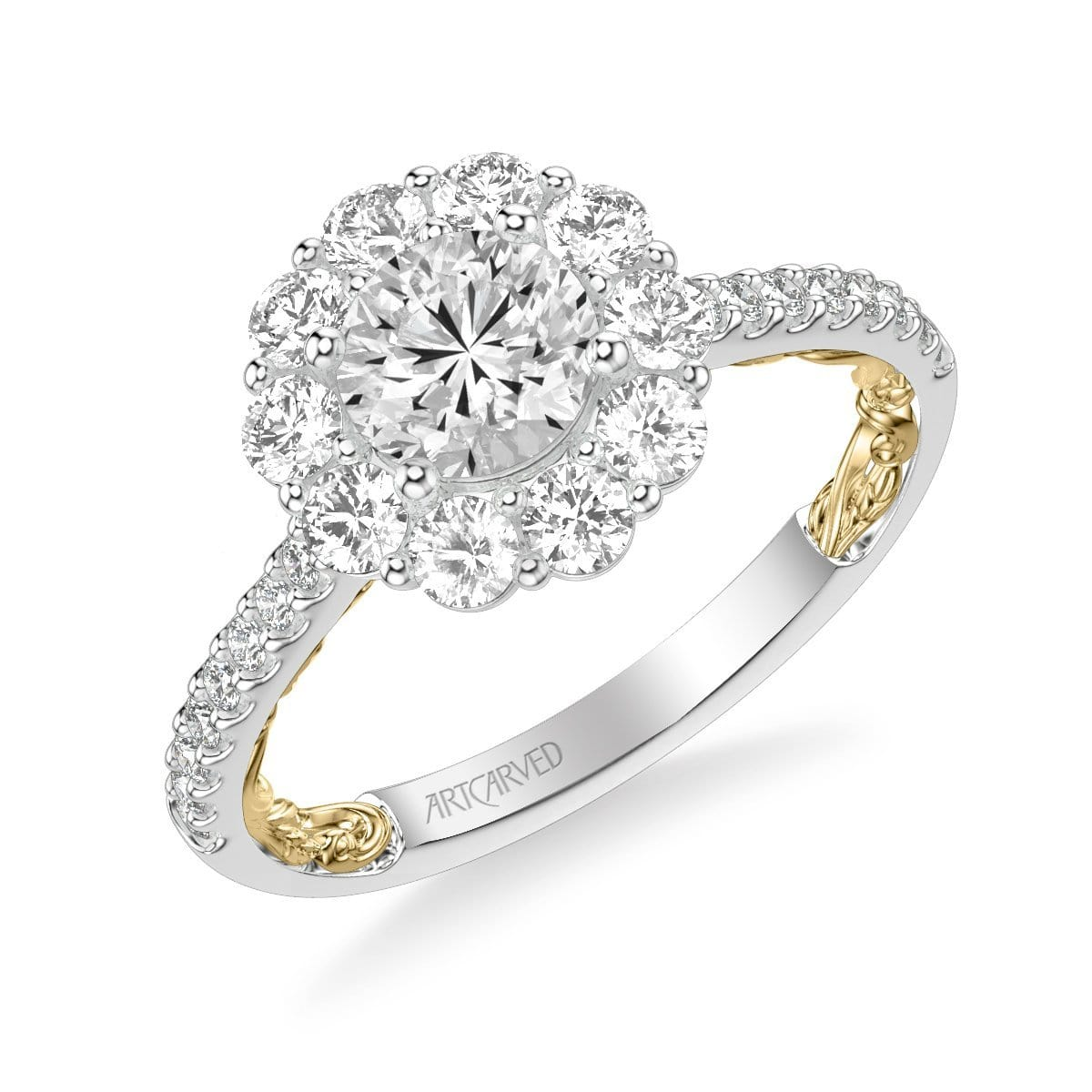 Cici Lyric Collection Classic Round Halo Diamond Engagement Ring