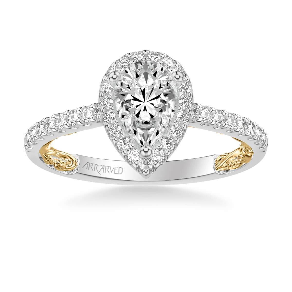 Delaney Lyric Collectin Classic Pear Halo Diamond Engagement Ring
