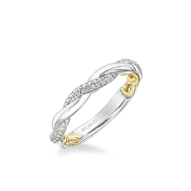 Ainsley Lyric Collection Contemporary Half Diamond Half Polished Twist Wedding Band