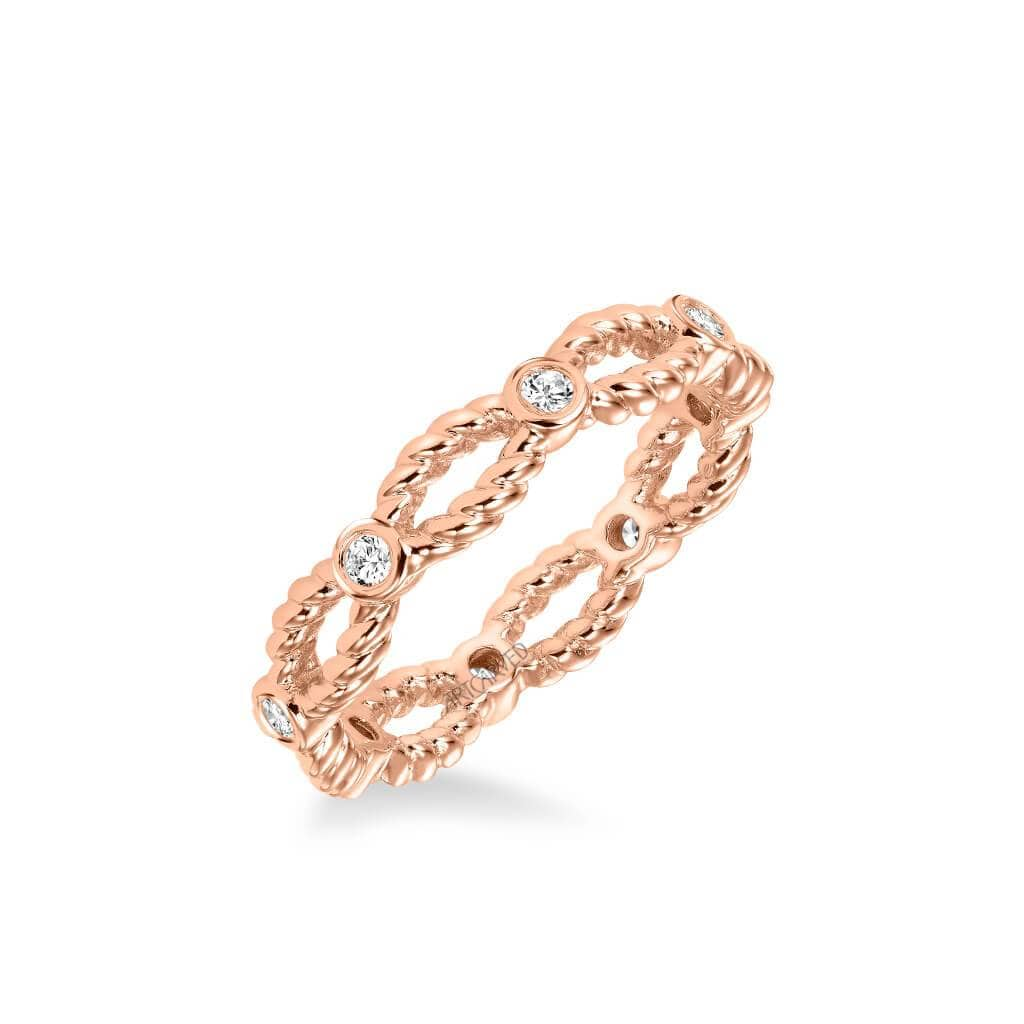Stackable Eternity Band with Open Rope and Diamond Accents