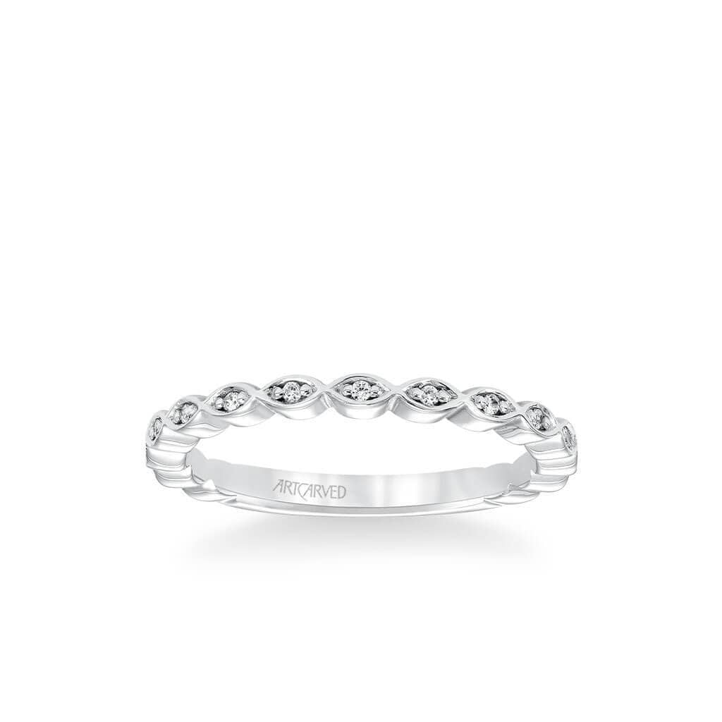 Stackable Band with Diamond Petal Design