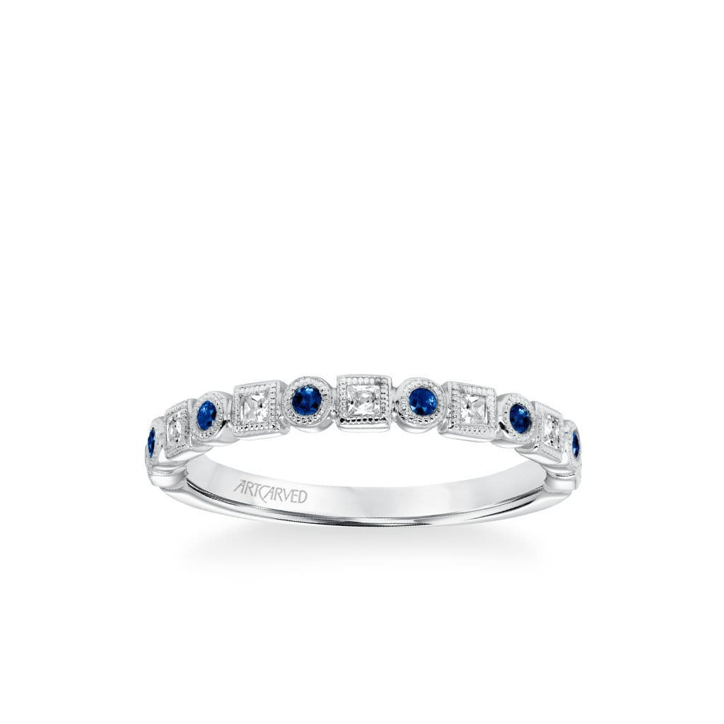 Stackable Band with Alternating Bezel Set Diamonds and Sapphires and Milgrain Accents