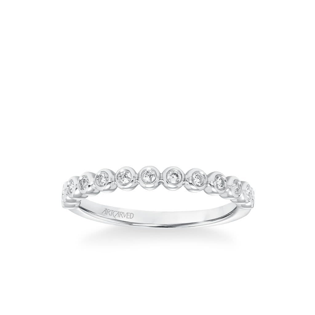 Stackable Band with Bezel Set Diamonds