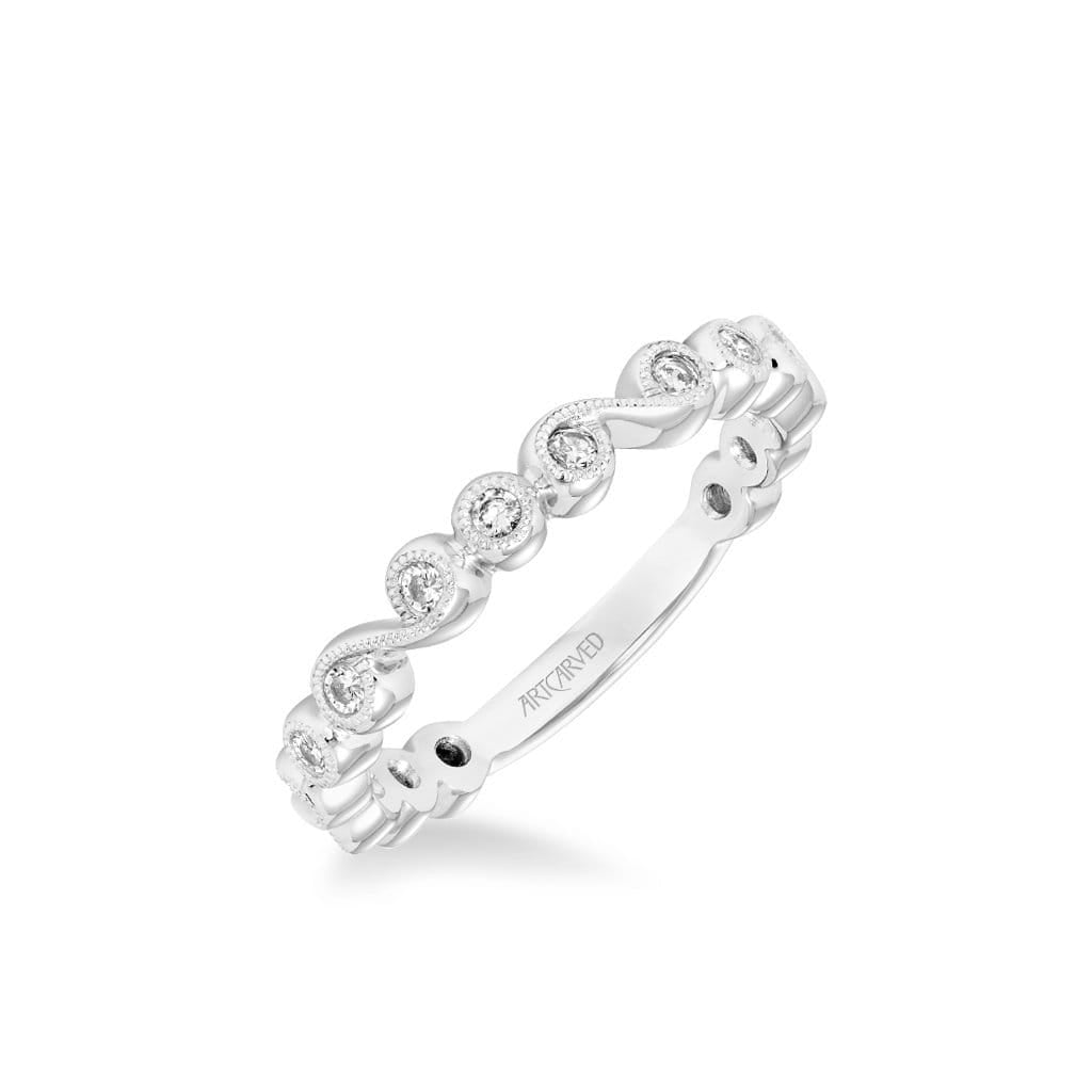 Stackable Band with Bezel Set Diamonds, Scroll Design and Milgrain Accents