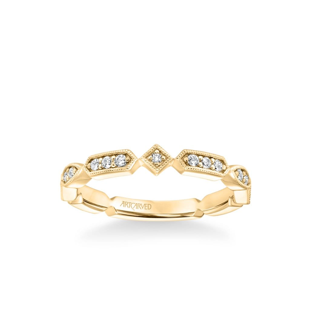 Stackable Band with Diamond and Milgrain Alternating Multi-Shape Design