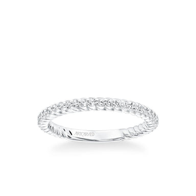 Stackable Band with Diamonds and Inside Rope Pattern