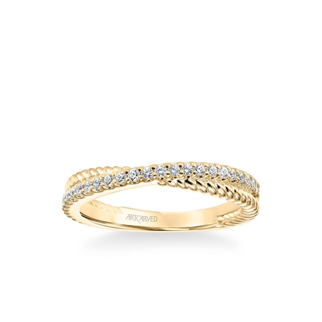 "Stackable Band with Diamond and Rope ""X"" Design"