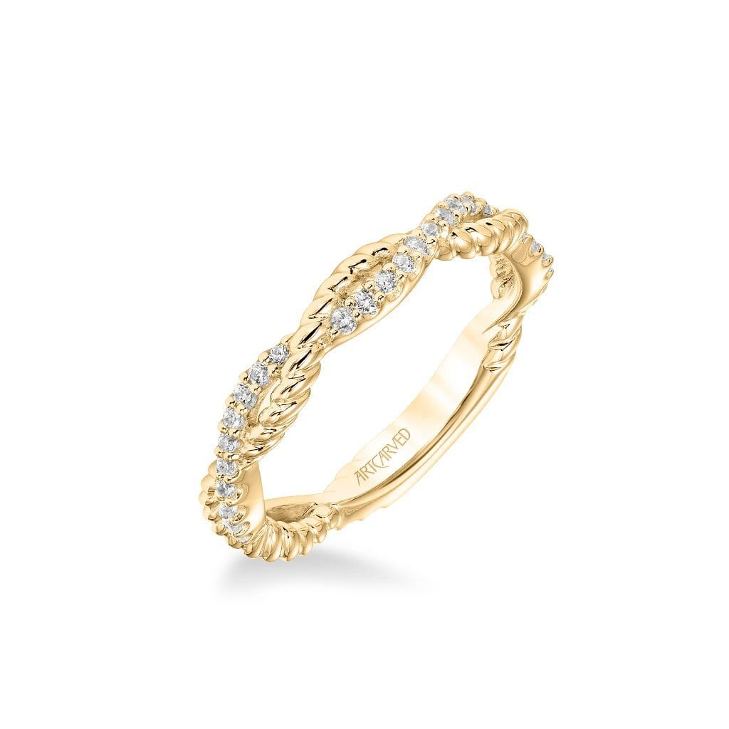 Stackable Band with Half Diamond Half Rope Twist