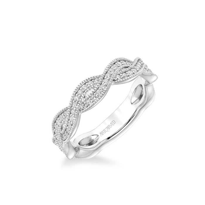 Stackable Band with Diamond and Milgrain Twist