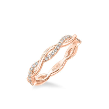 Stackable Band with Half Diamond Half Polished Open Twist