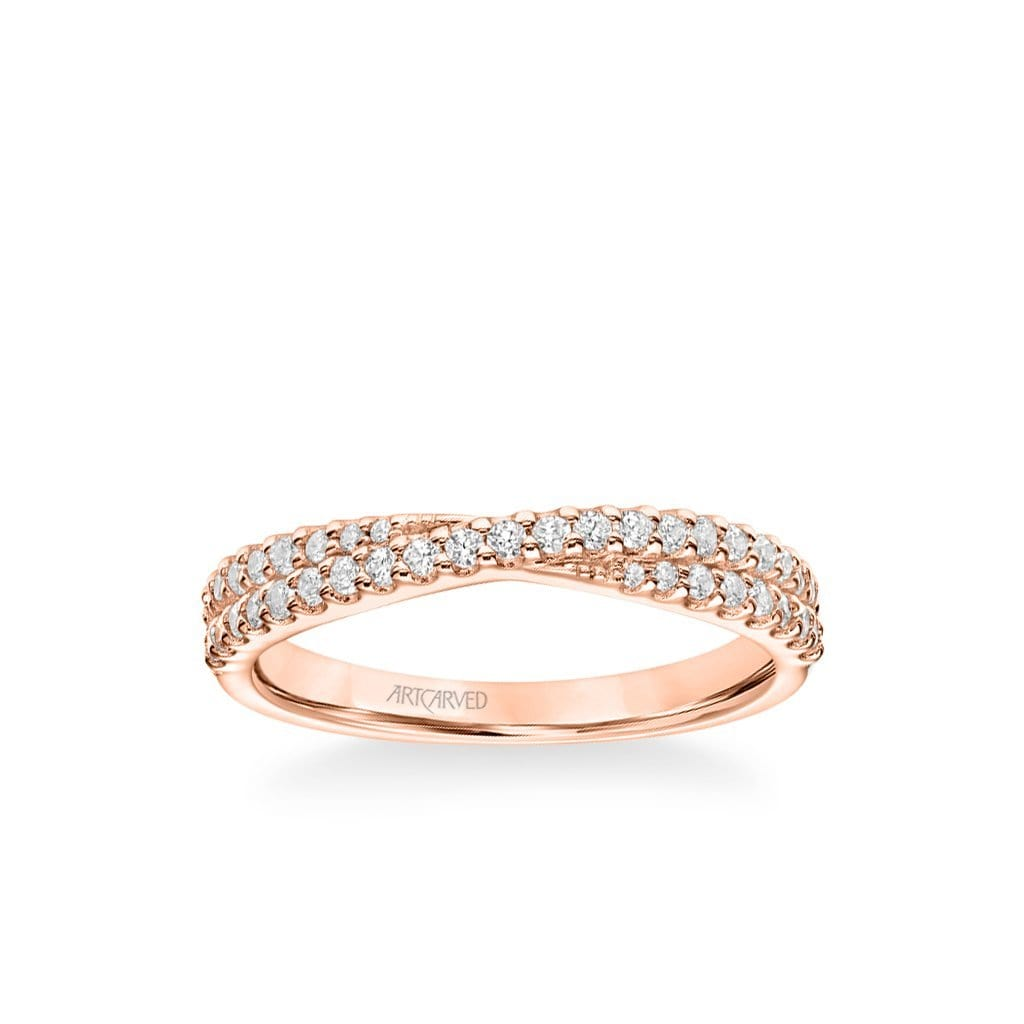 "Stackable Band with Diamond ""X"" Design"
