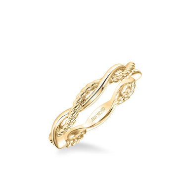 Stackable Band with Half Diamond Half Polished Twist