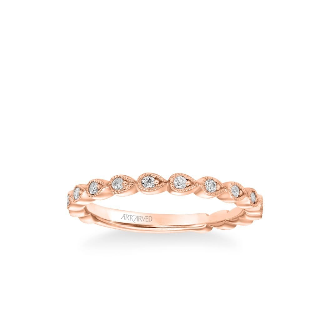 Stackable Petite Band with Diamond and Milgrain Leaf Accents