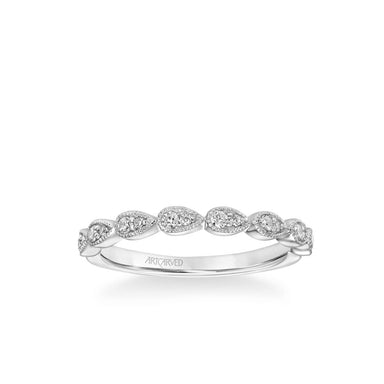 Stackable Band with Diamond and Milgrain Leaf Accents