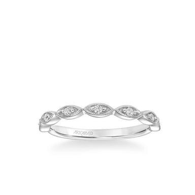 Stackable Band with Diamond and Milgrain Marquis Shape Design