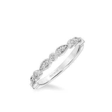 Stackable Band with Diamond and Milgrain Multi-Shape Design