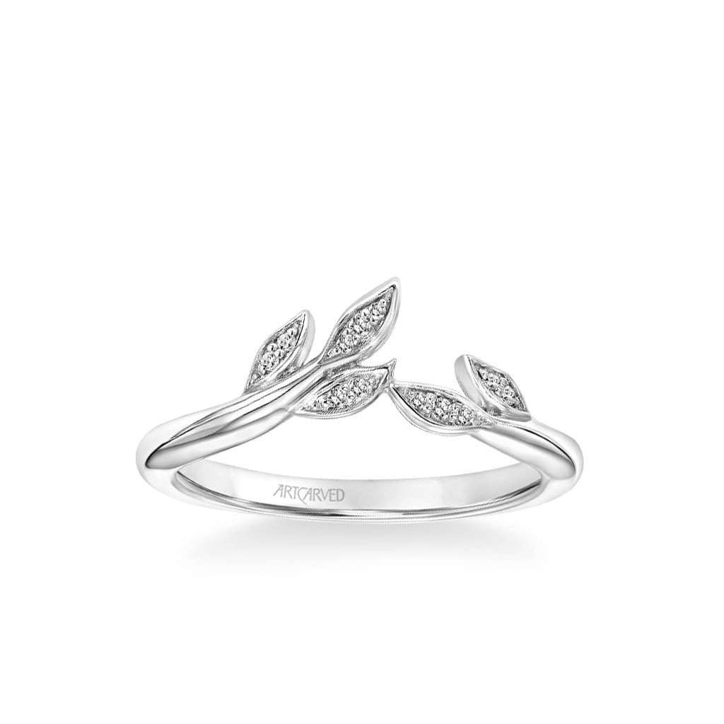 Stackable Polished Band with Diamond Petal Accents