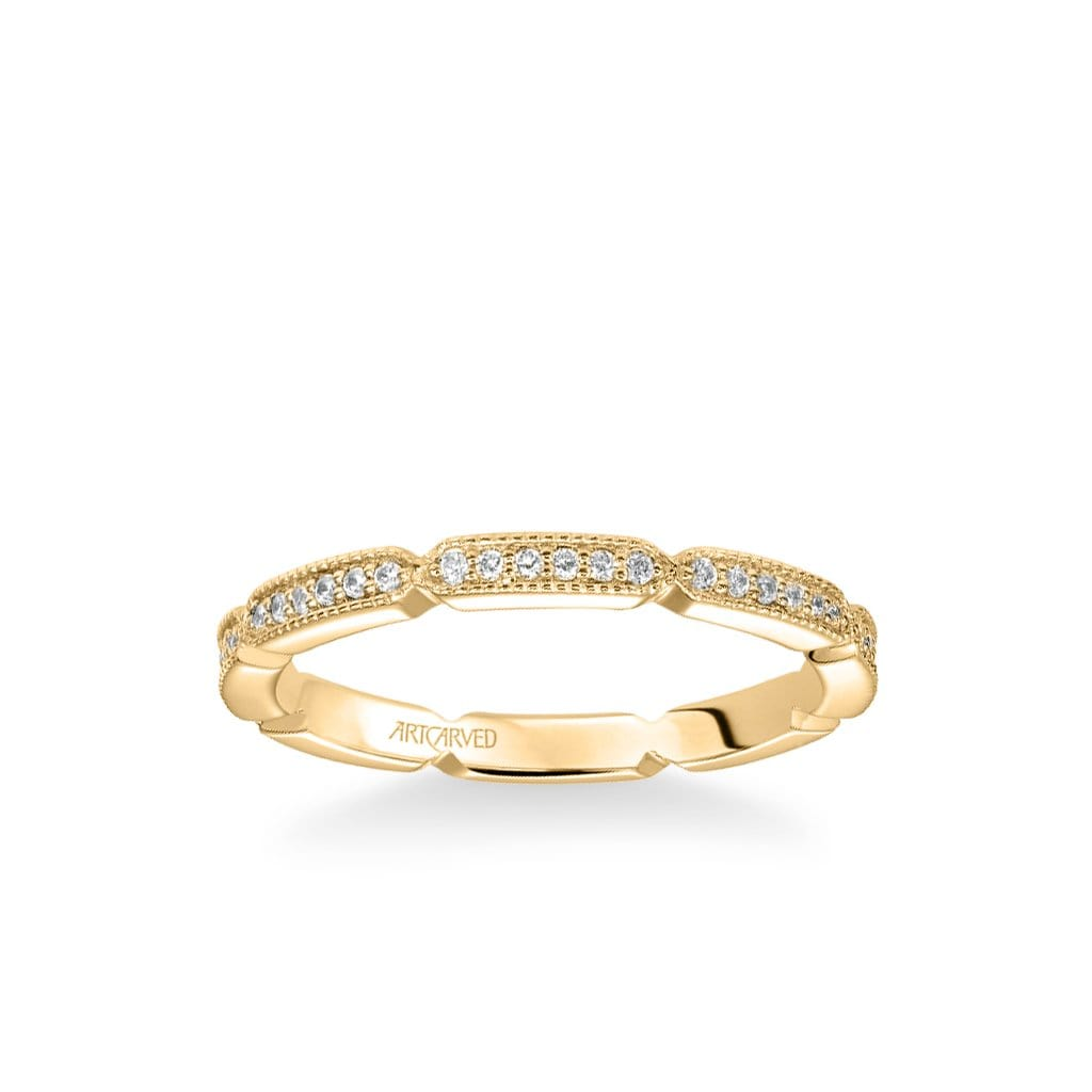 Stackable Eternity Band with Diamond and Milgrain Design