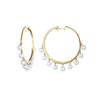 18K Yellow Gold White Pearl Dangles