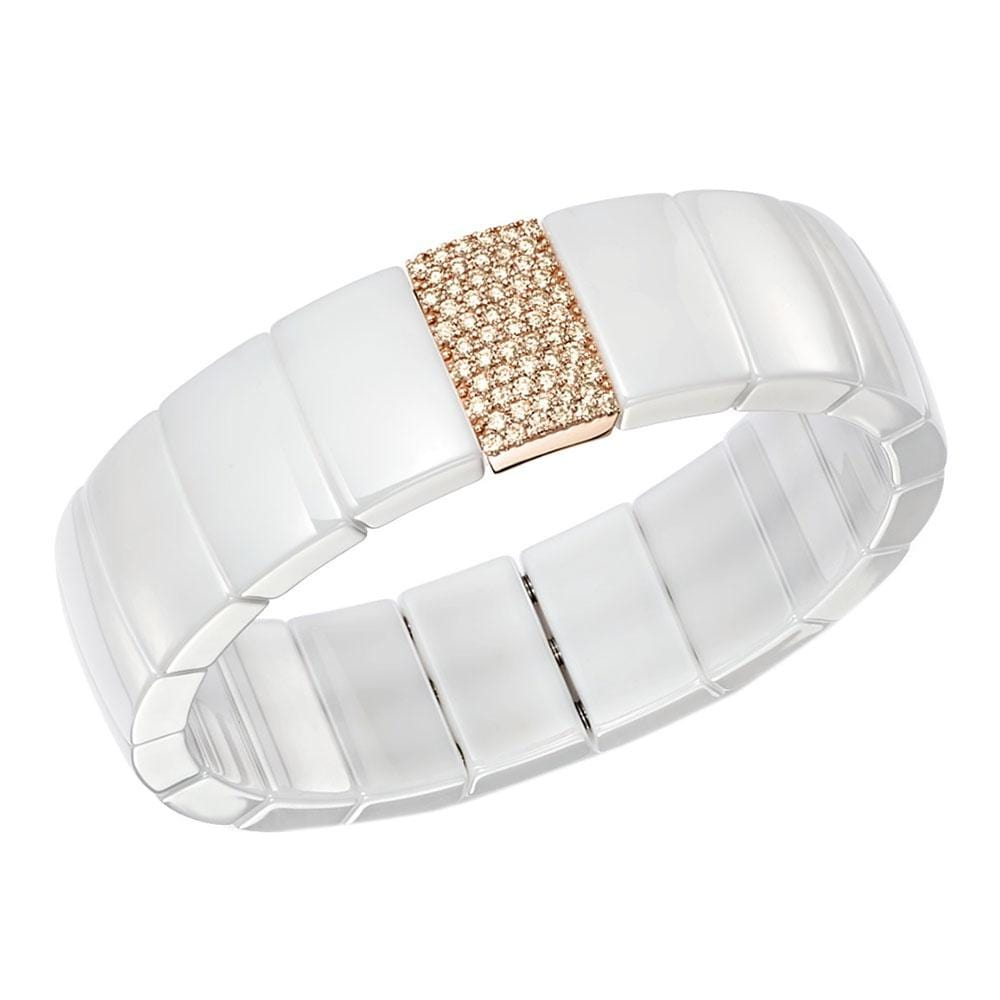 SINGLE ROW DOMINO WHITE CERAMIC BRACELET