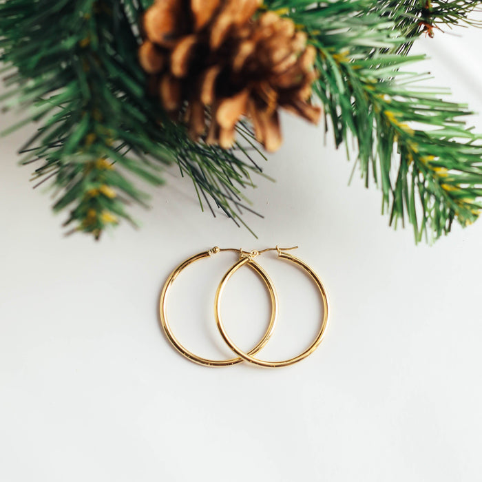 14K Yellow Gold Polished Hoops (34mm)