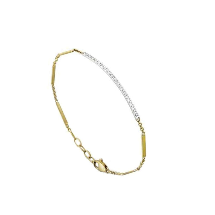 18K Gold & Pave Diamond Bar Bracelet