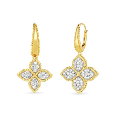 18K GOLD & DIAMOND PRINCESS FLOWER EARRING