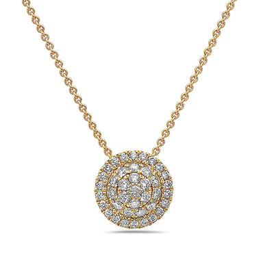 18K Yellow Gold Diamond Cluster Pendant