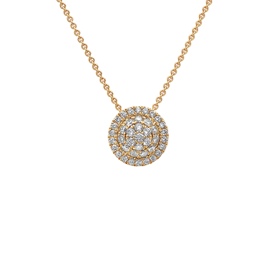 Triple Halo Diamond Necklace