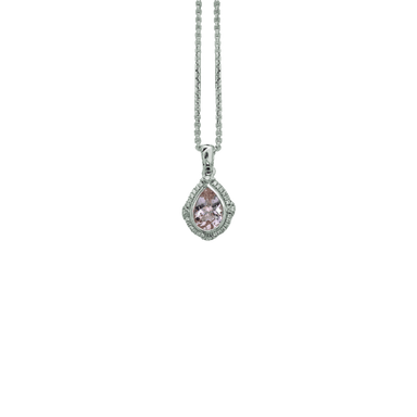 Stslvr Morganite and Diamond Ivy Drop Pendant