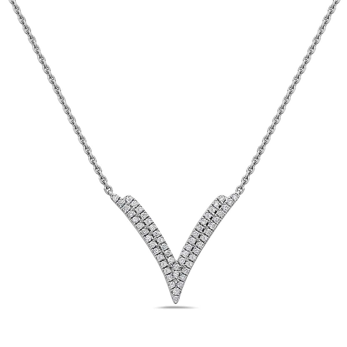"18K White Gold Diamond ""V"" Necklace"