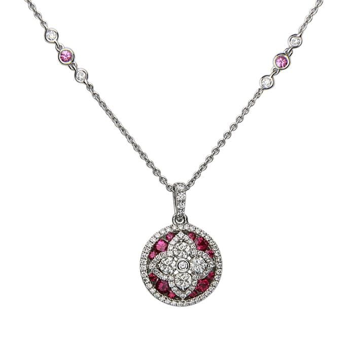 18K White Gold Diamond & Ruby Pendant