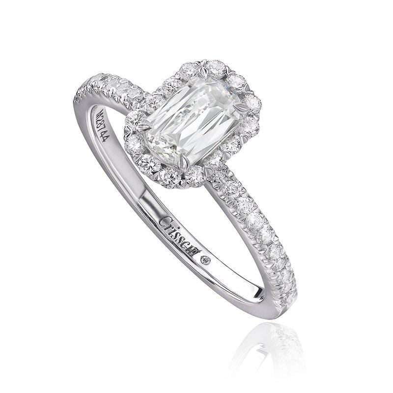 14K White Gold Halo Ring