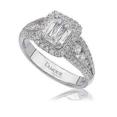 18K White Gold Cushion Halo Shoulder Ring