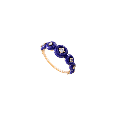 Lapis Lazuli and Diamond Small Surrounding Ring
