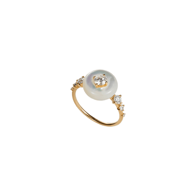 White Mother of Pearl and Diamond Orbit Ring