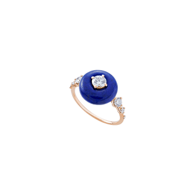 Lapis Lazuli and Diamond Orbit Ring